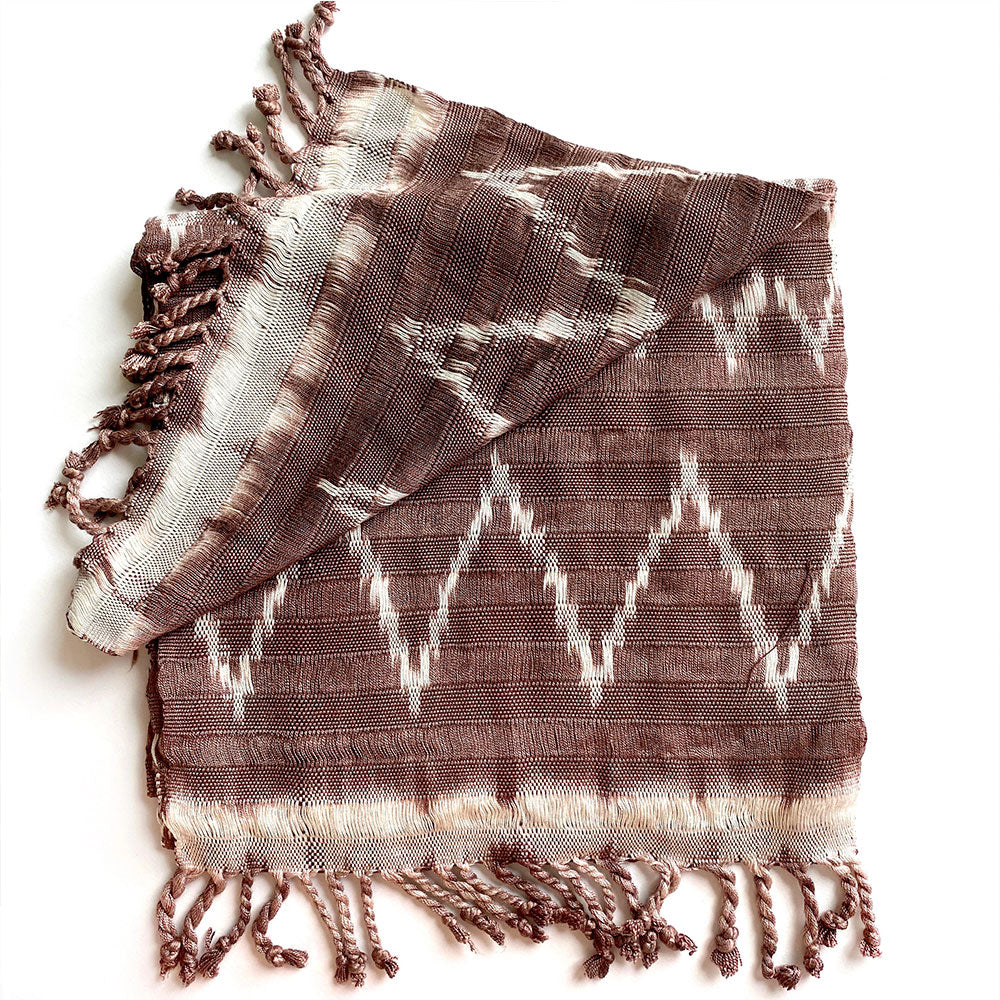 brown ikat handmade scarf - The Fox and the Mermaid