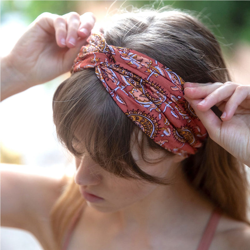 Brown rayon turban headwrap -  The Fox and the Mermaid
