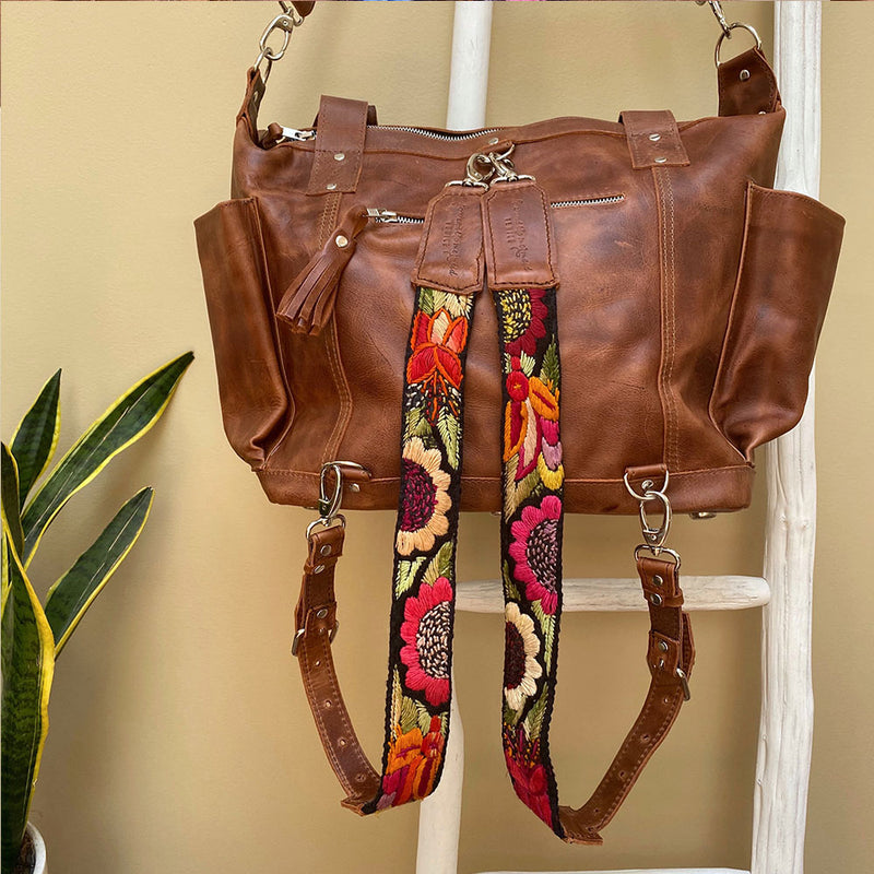 brown leather  Backpack with embroidered straps with sunflowers and birds - The Fox and the Mermaid