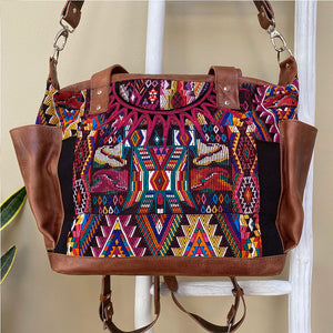 Mayan Huipil Bag with Detachable Backpack Straps-Medium
