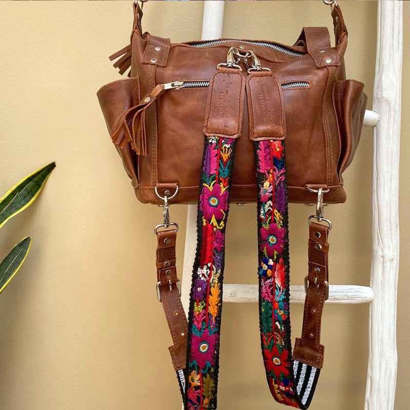 Brown leather crossbody and  convertible backpack - The Fox and the Mermaid
