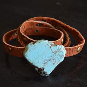 Studded Leather Wrap Bracelet with Turquoise Stone - The Fox and The Mermaid - 3