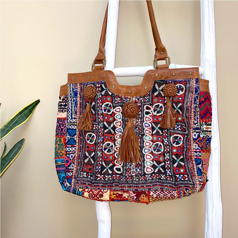 Vintage embroidered indian bag with leather tassels- The Fox and the Mermaid