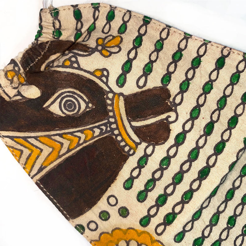 painted cow detail face mask from india - The Fox and the Mermaid