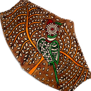 Brown hand painted mask with green and red parrot - The Fox and the Mermaid