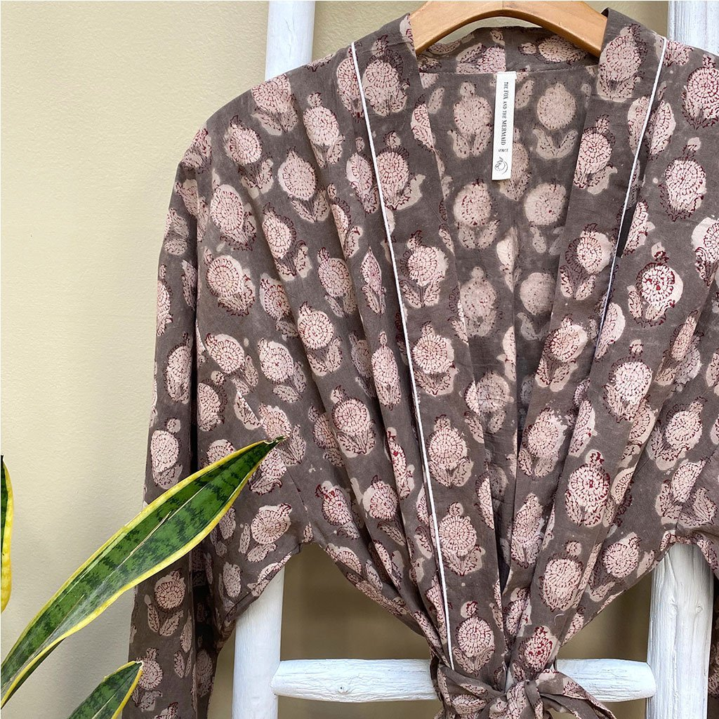 Brown cotton robe hand printed - The Fox and the Mermaid