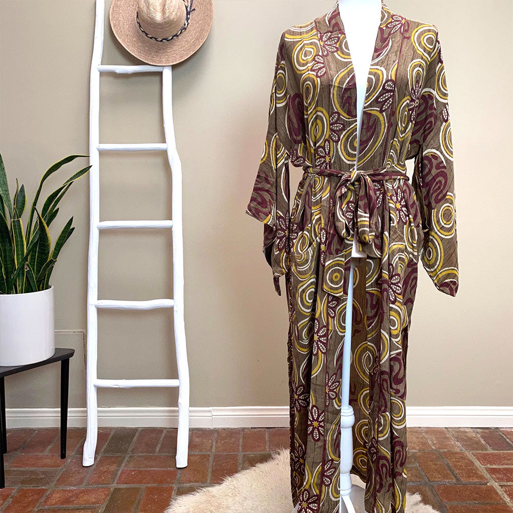 Vintage style silk crepe kimono - The Fox and the Mermaid