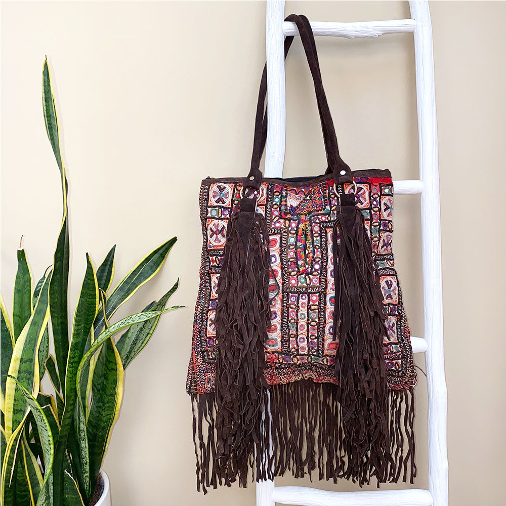 Vintage Indian Banjara bag with suede fringe - The Fox and the Mermaid