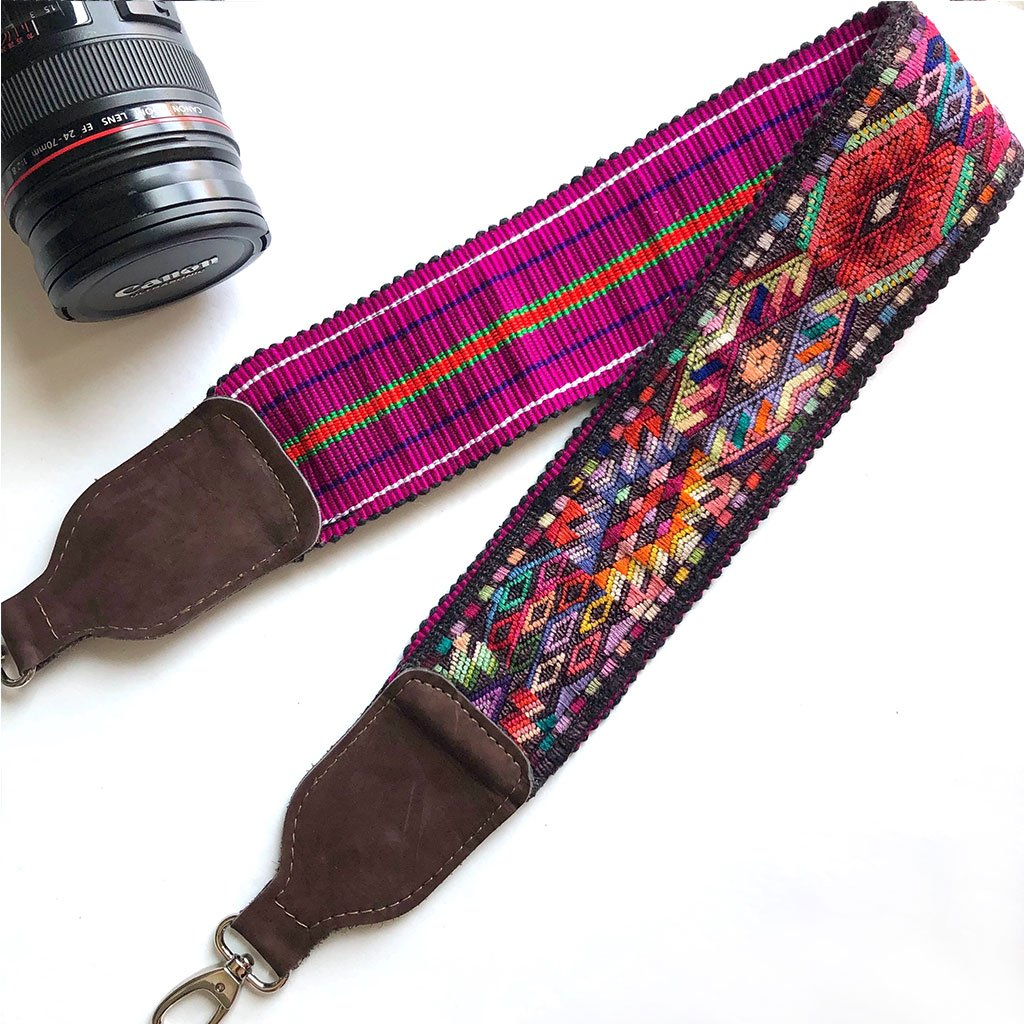 Brown suede camera strap with geometric pattern The Fox and the Mermaid