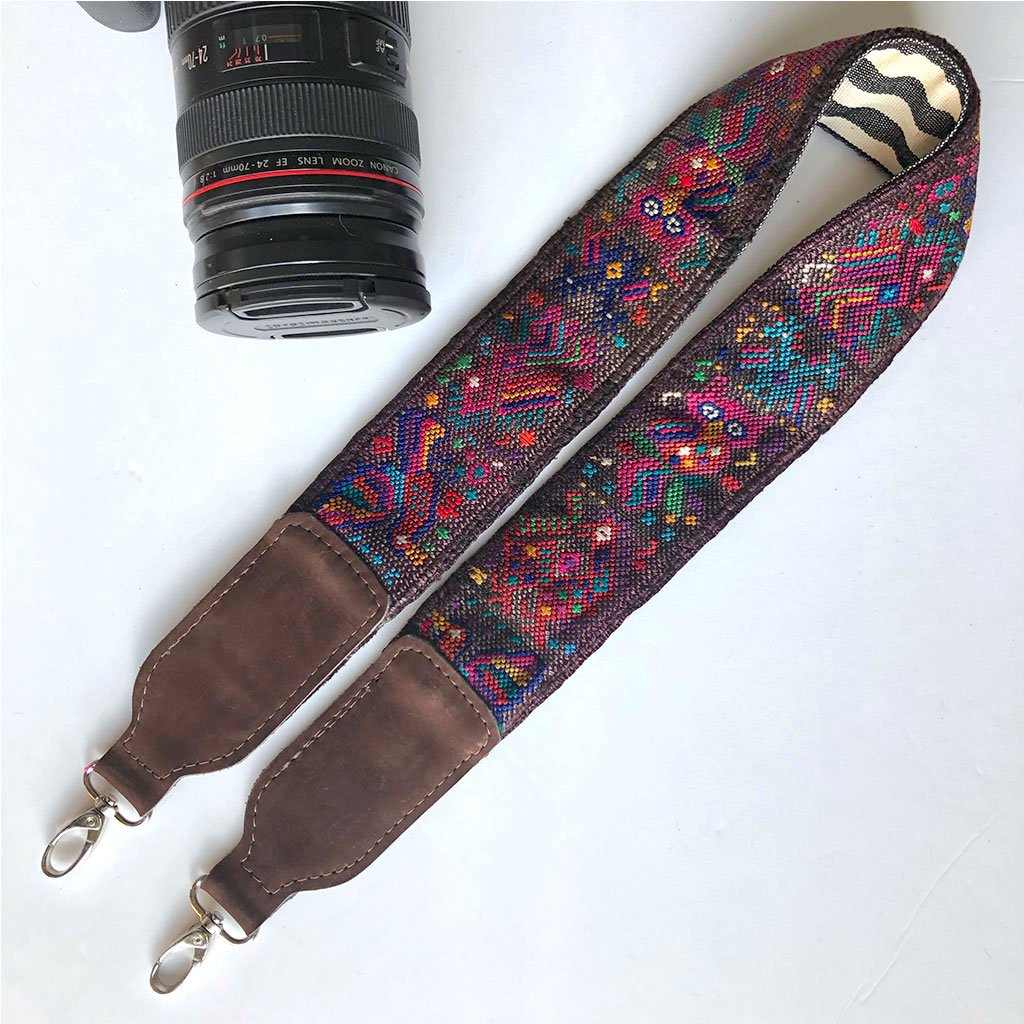Purple and brown camera strap The Fox and the Mermaid