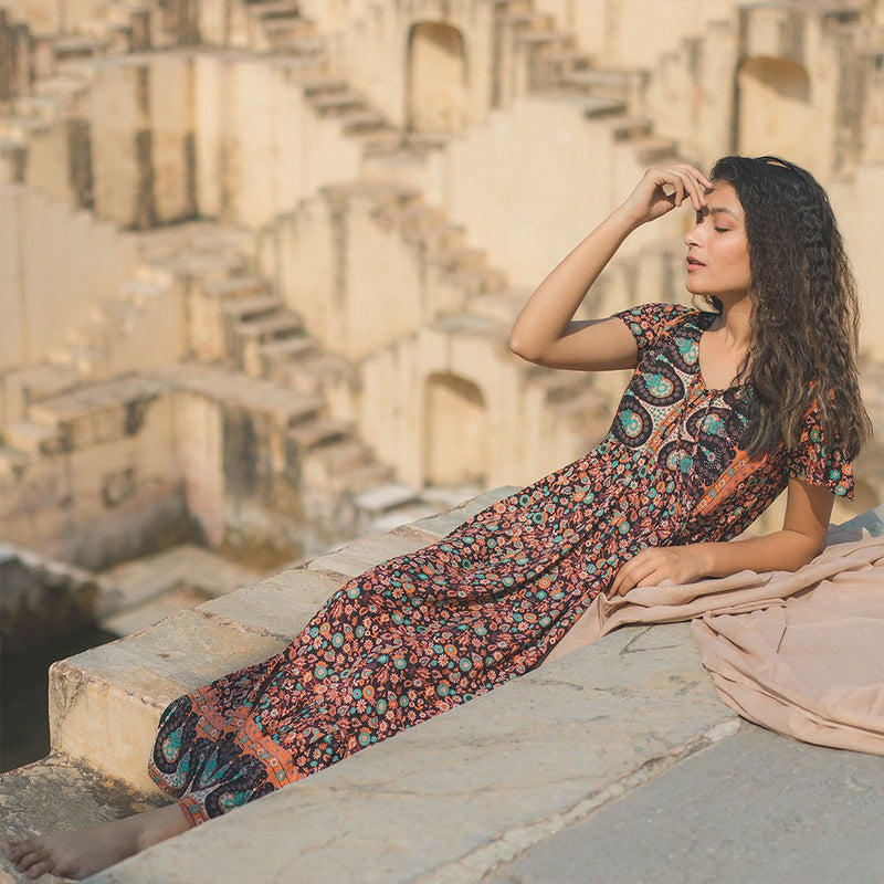 Brown flowy boho dress The Fox and the Mermaid
