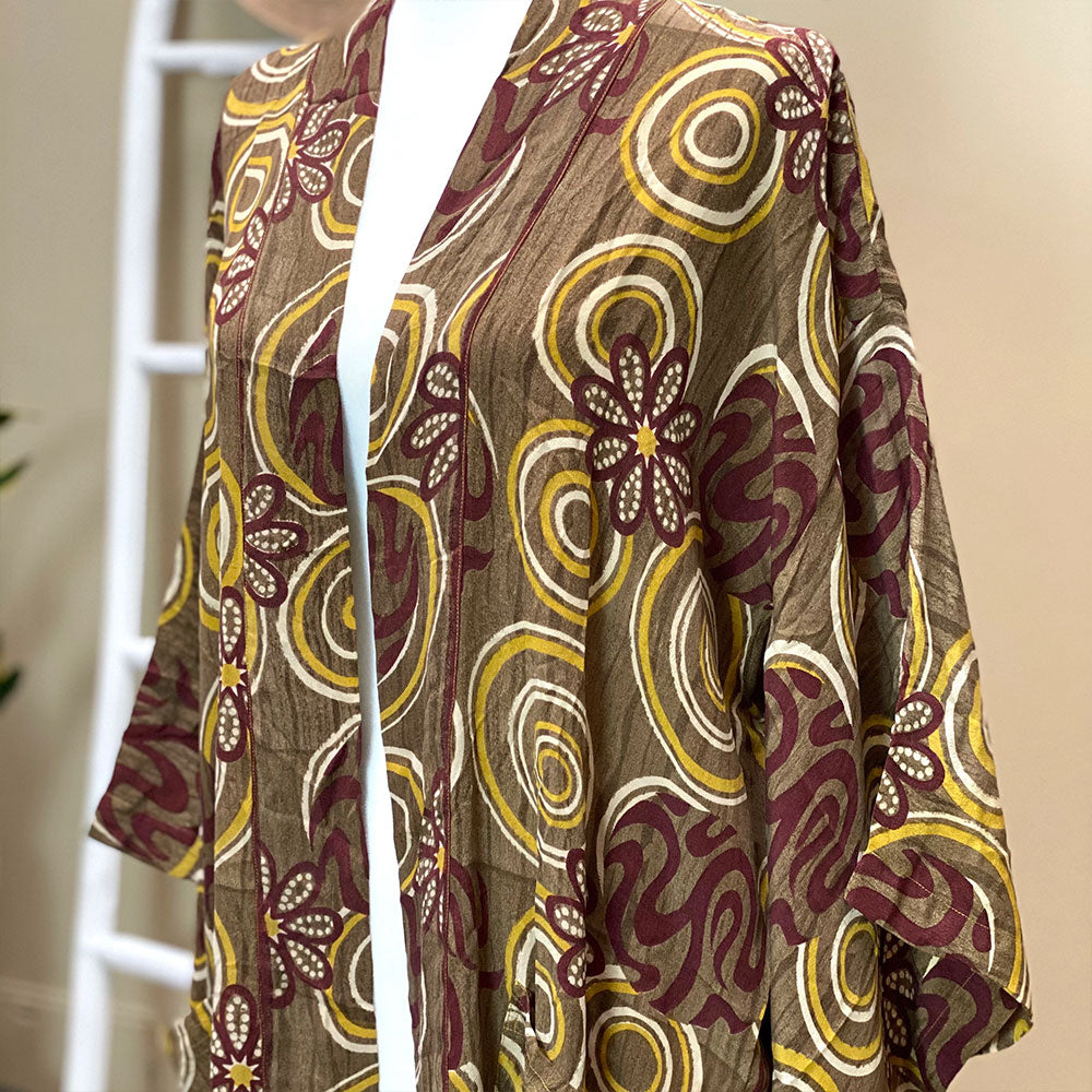 Brown and yellow vintage silk kimono - The Fox and the Mermaid