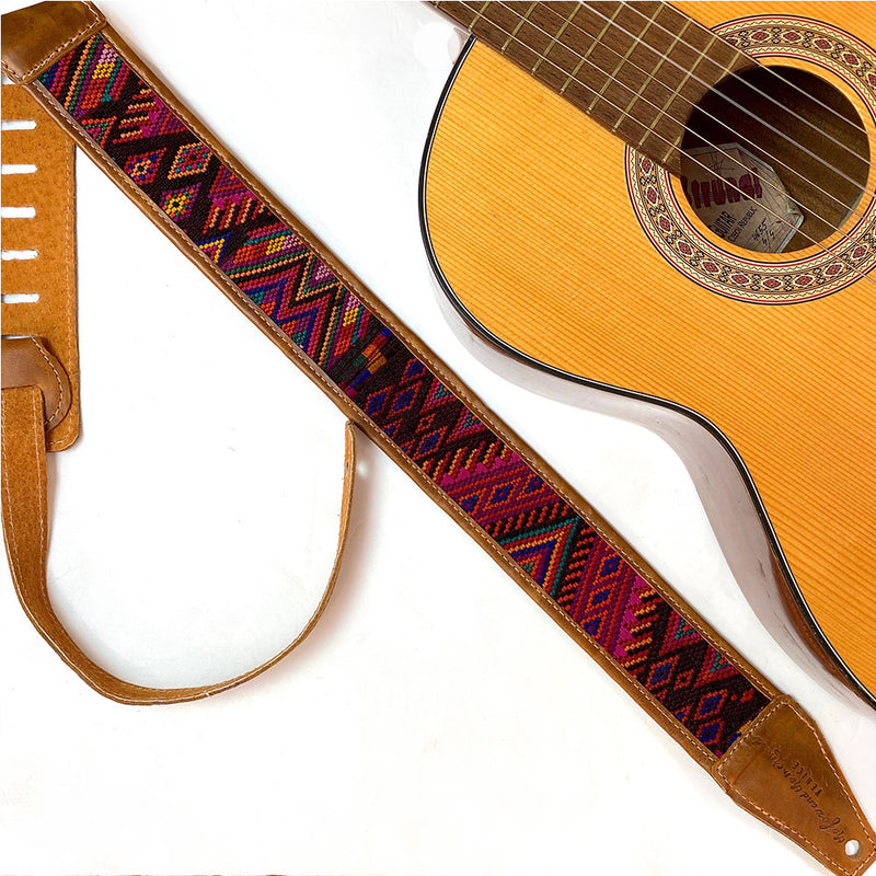 Burgunday green and red Embroidered  Guitar Strap - The Fox and the Mermaid