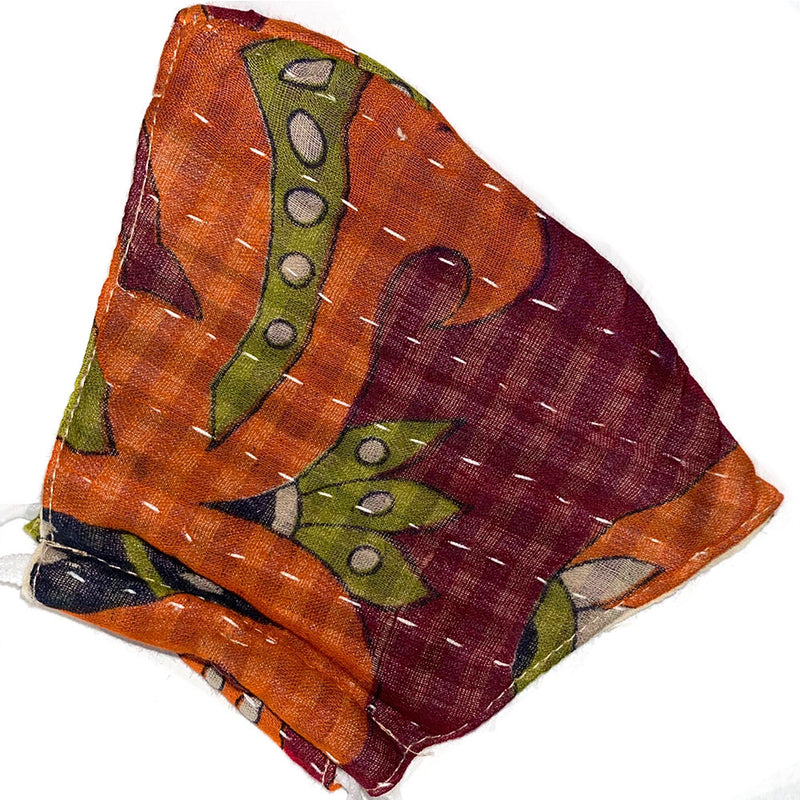 soft vintage kantha mask - The Fox and the Mermaid