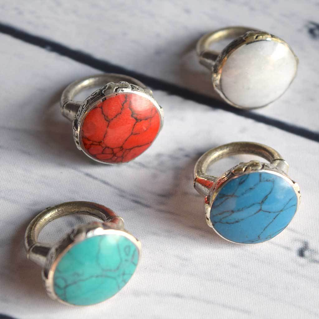Kuchi Tribe Chunky Stone Rings - The Fox and The Mermaid