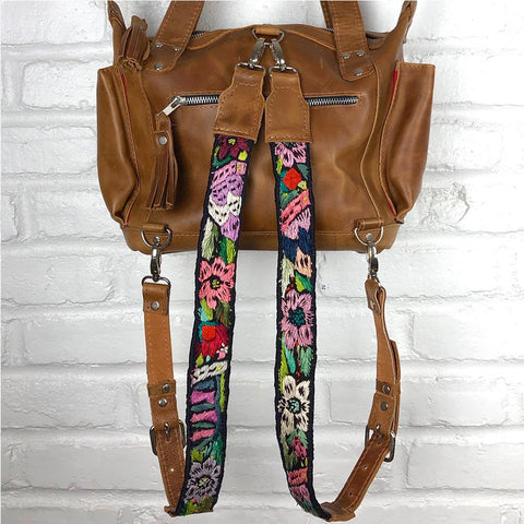 Leather Embroidered Backpack Straps
