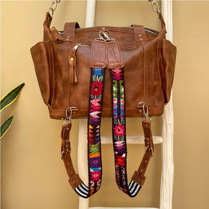 brown leather guatemalan crossbody backpack - The Fox and the Mermaid