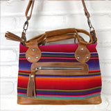 handmade rainbow bag from guatemala Leather Embroidered Strap