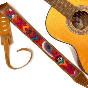 Red orange and green embroidered  Guitar Strap - The Fox and the Mermaid