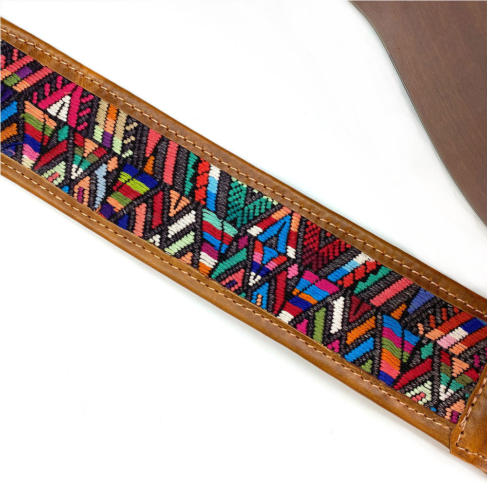Geometric Embroidery on Guitar Strap - The Fox and the Mermaid