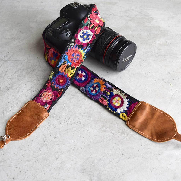 Mayan Embroidered Camera Strap The Fox and the Mermaid