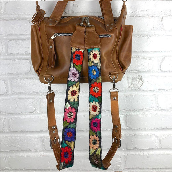 Embroidered Round Flowers on Backpack Straps  - The Fox and the Mermaid