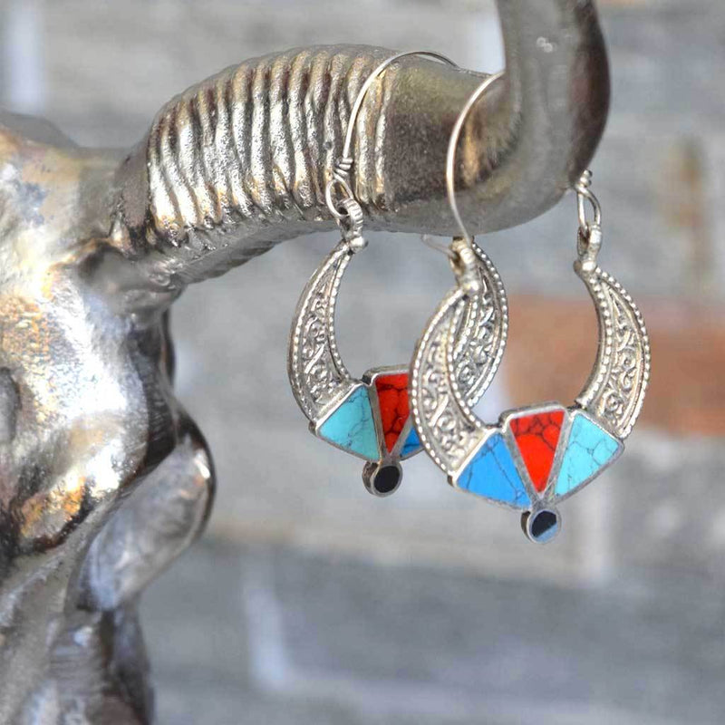 Coral and Turquoise Engraved Kuchi Tribe Earrings - The Fox and The Mermaid