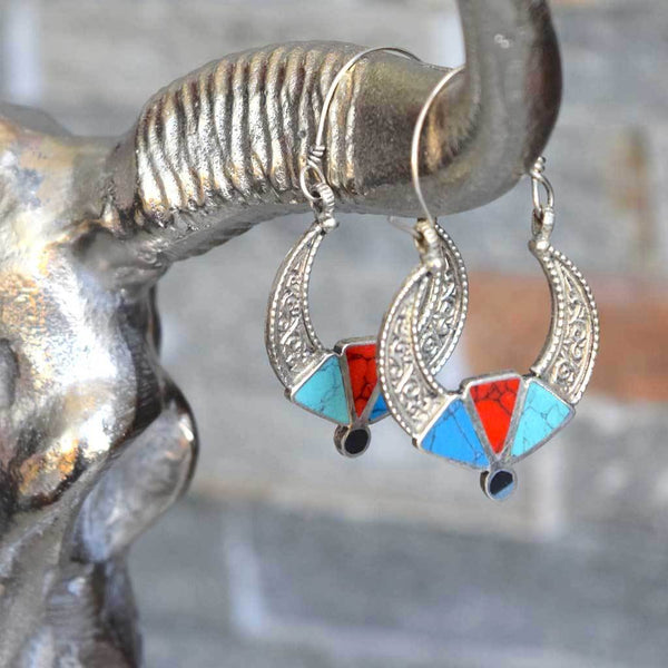 Etched Turquoise Coral Earrings The Fox and the Mermaid