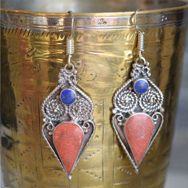 lapis coral earrings from nepal The Fox and the Mermaid