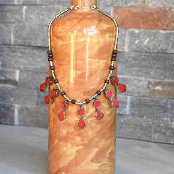 Coral Tribal Afghan Necklace The Fox and the Mermaid