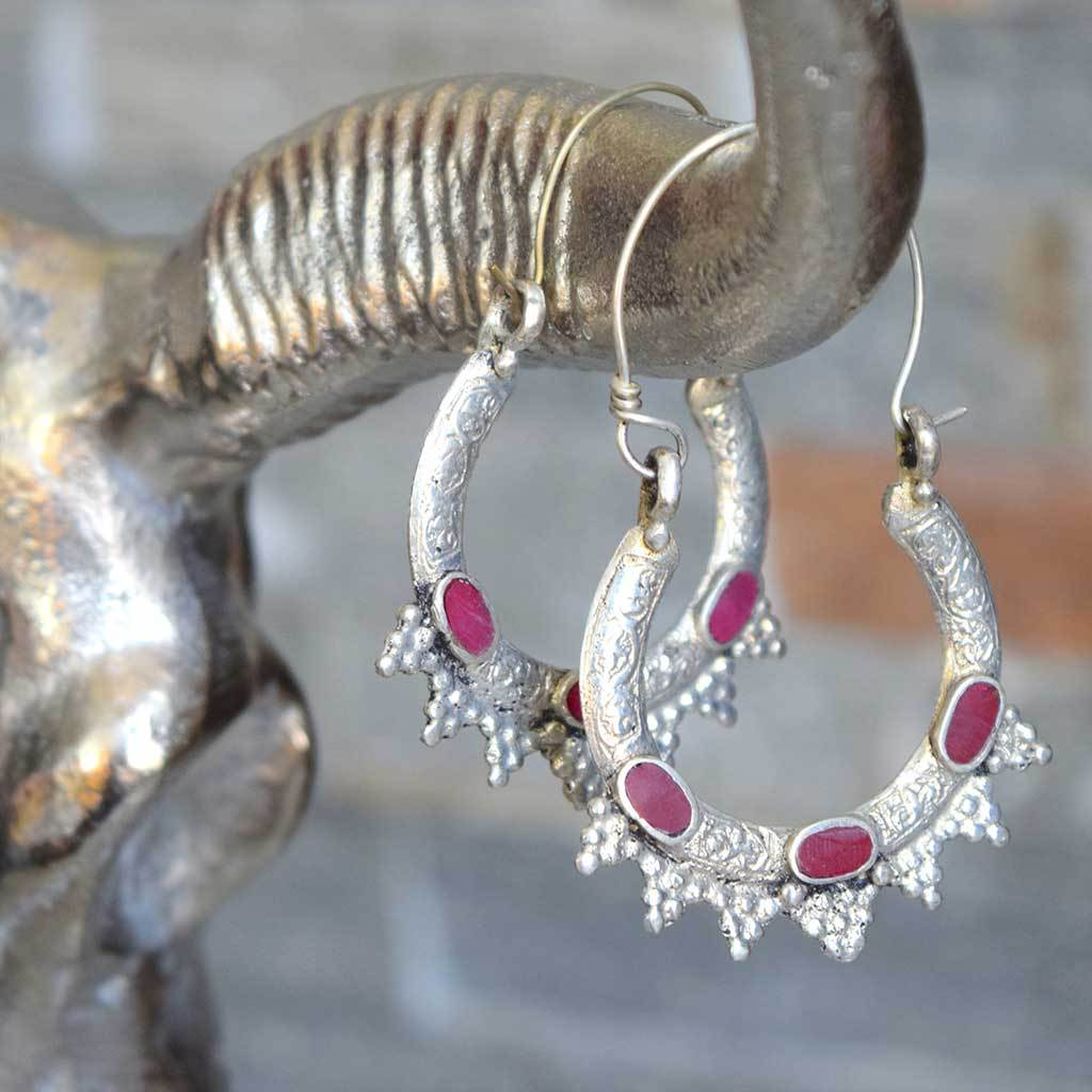 Kuchi Tribe Earrings With Colored Stones (Various Colors) - The Fox and The Mermaid