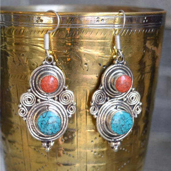 coral and turquoise earrings from katmandhu The Fox and the Mermaid