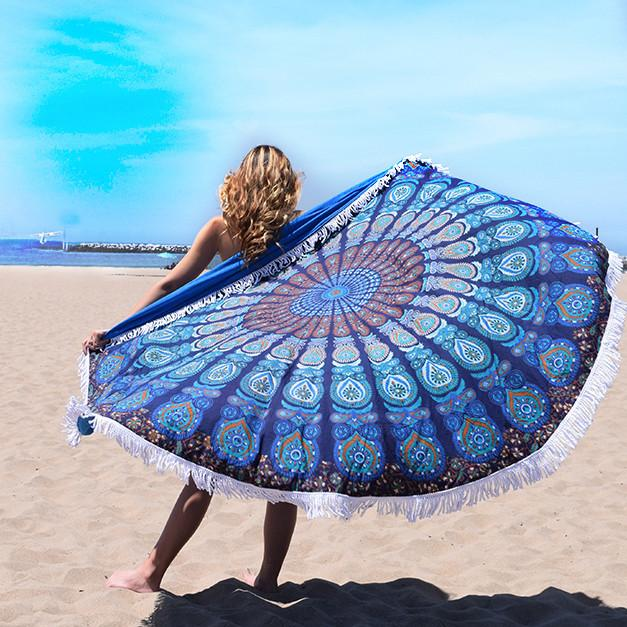 blue peacock round terrycloth beach towel the-fox-and-the-mermaid