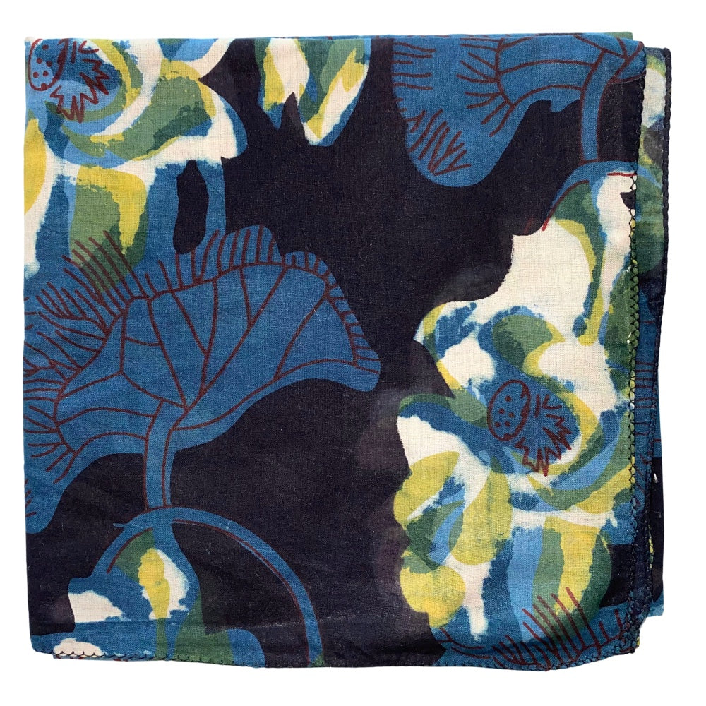 blue and black floral cotton head scarf - The Fox and the Mermaid
