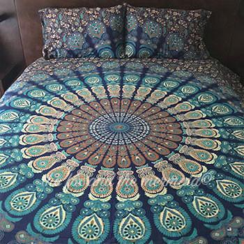 Under The Sea Boho Blue Tapestry Bedding - The Fox and The Mermaid - 3