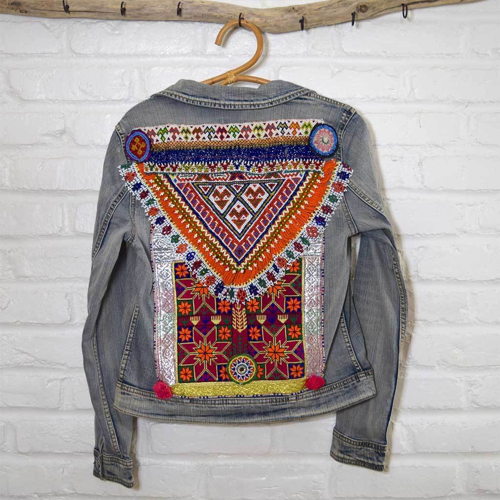 Embellished Denim Jacket with Tribal Patches The Fox and the Mermaid