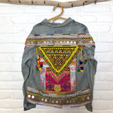 brown denim tribal embellished jacket The Fox and the Mermaid