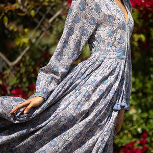blue floral boho dress - The Fox and the Mermaid