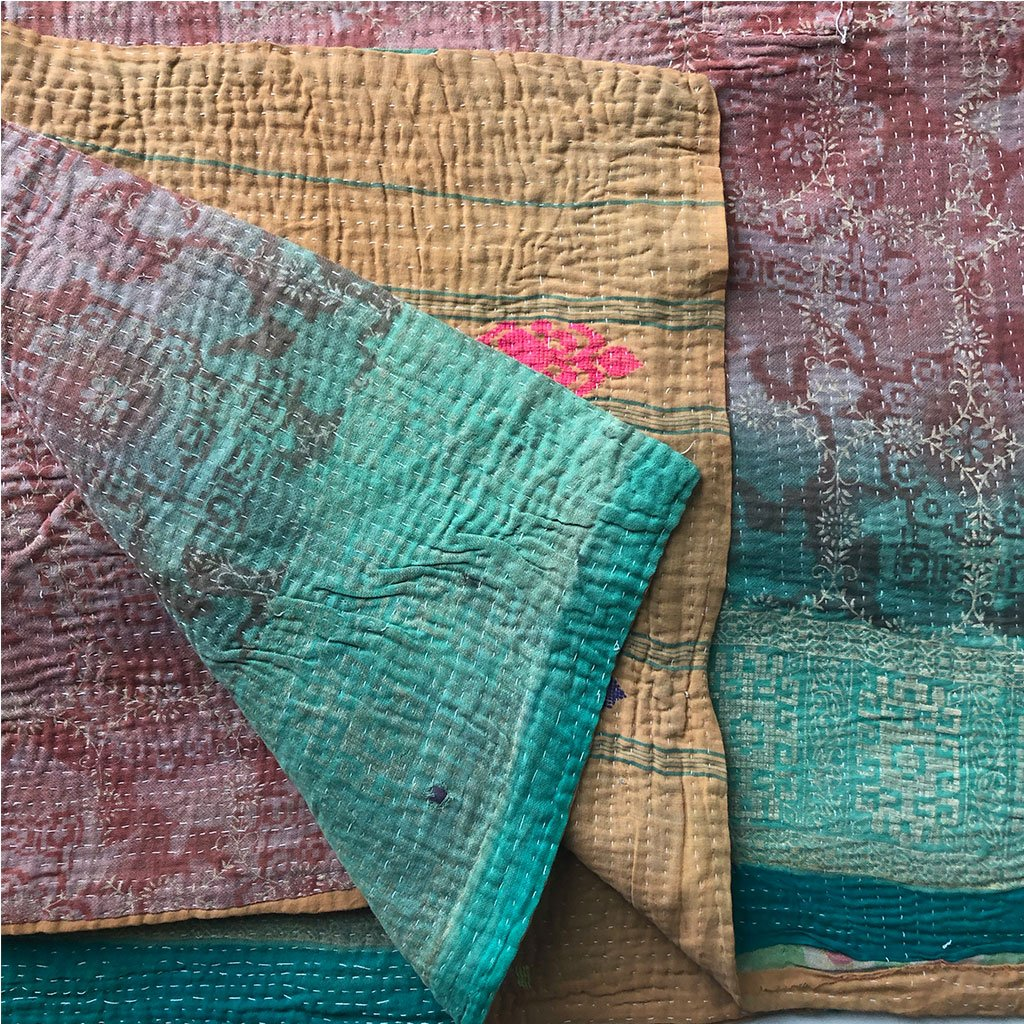 bright green vintage quilt The Fox and the Mermaid