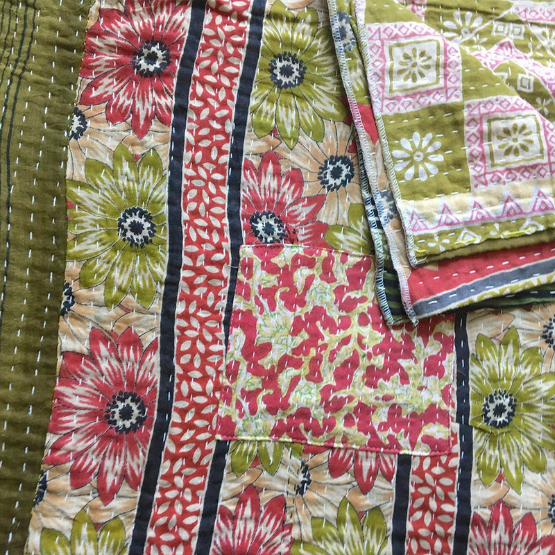 Hand-Stitched Kantha - The Fox and The Mermaid