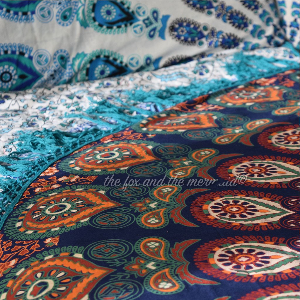 The Gypsy Wanderer Mandala Roundie with Green Fringe - The Fox and The Mermaid - 5