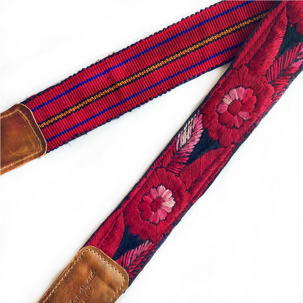 Red and Black Embroidered camera  Strap - The Fox and the Mermaid