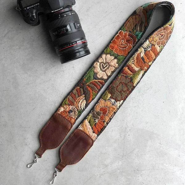Brown Embroidered Strap for camera The Fox and the Mermaid