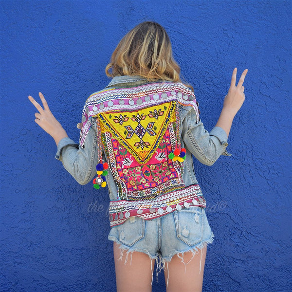 embellished denim festival style jacket