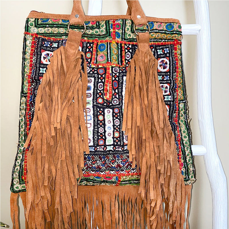 fringe banjara bag with tan suede - The Fox and the Mermaid