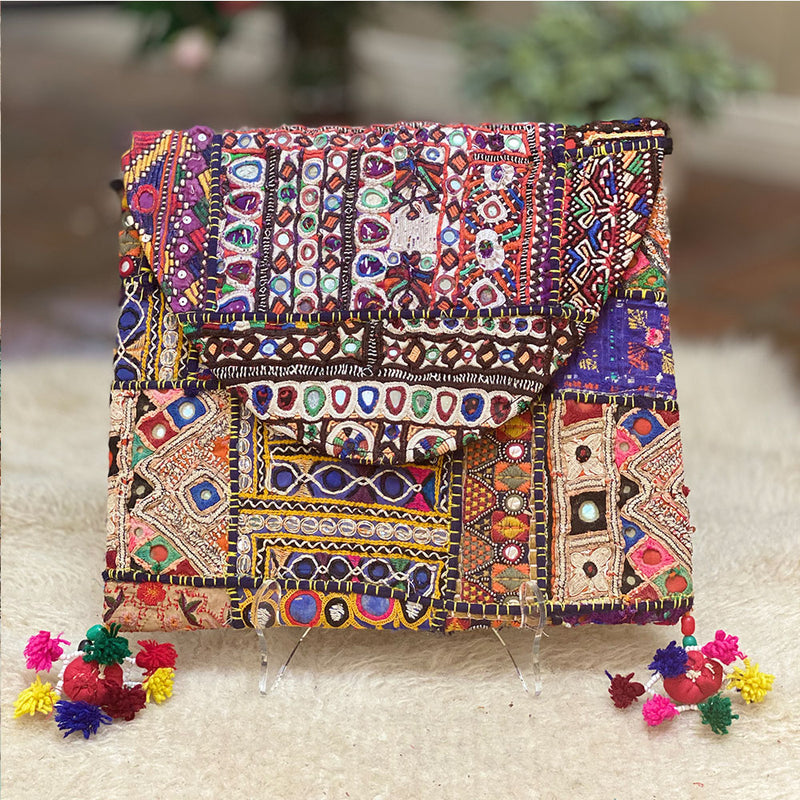 embroidered indian banjara clutch bag with chain strap - The Fox and the Mermaid