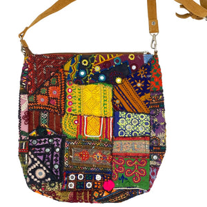 hand embroidered patchwork shoulder bag from india  - The Fox and the Mermaid