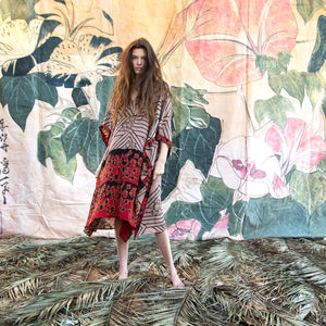 bohemian kaftan made from vintage silk - The Fox and the Mermaid