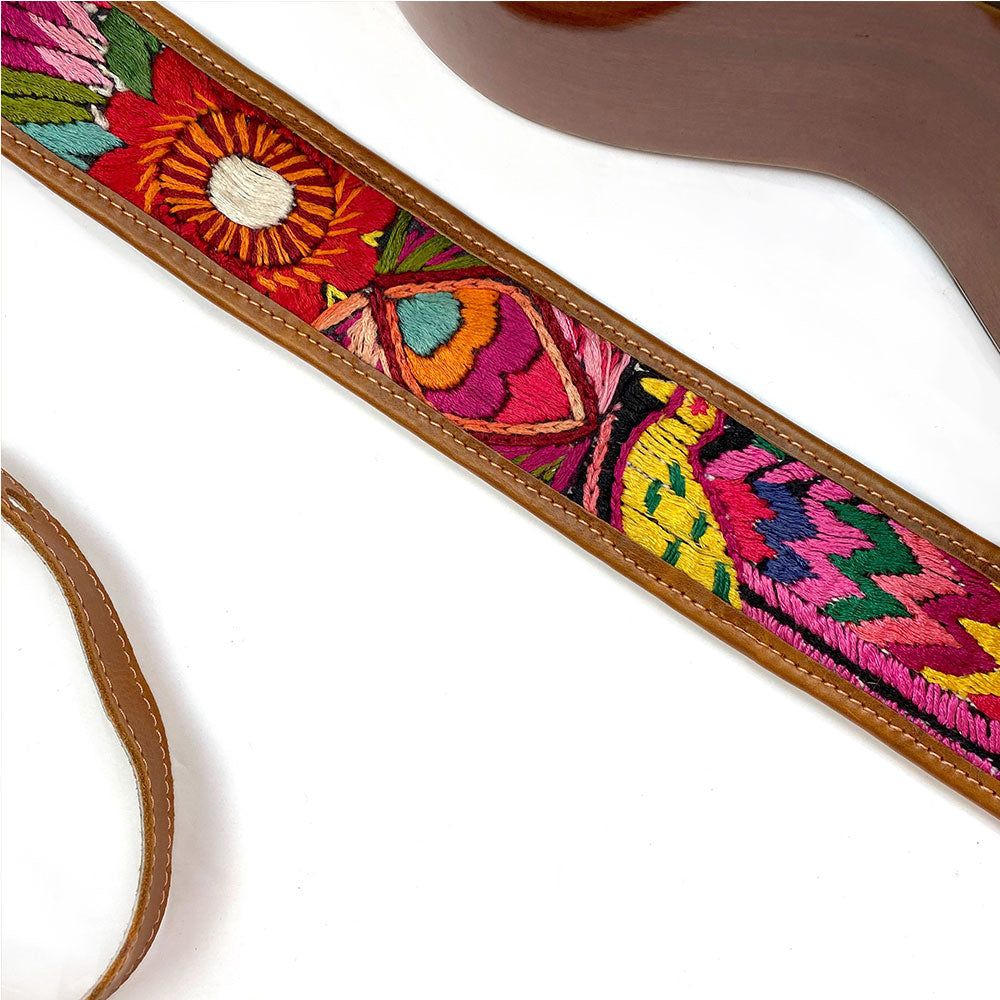 embroidered bird and fish detail on  Guitar Strap - The Fox and the Mermaid