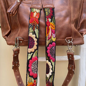 embroidered sunflowers on Backpack straps - The Fox and the Mermaid